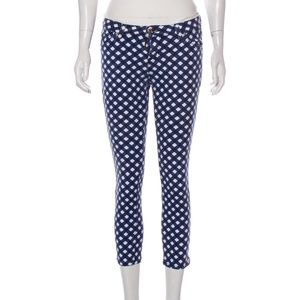 Kate Spade Mid-Rise Cropped Jeans Blue Gingham
